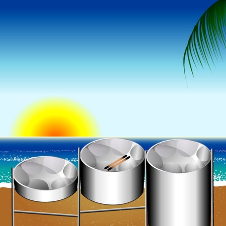 trinidadian: Illustration of three variations of Steel Pan Drums on the beach invented in Trinidad and Tobago.