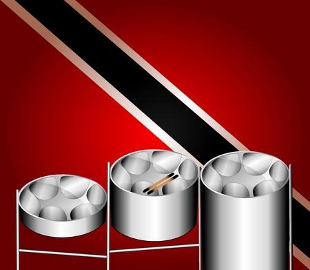 caribbean party: Ilustraci�n de bandera con tres variaciones de tambores de acero Pan con inventado en Trinidad y Tobago.