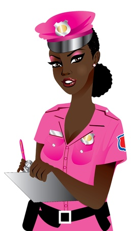 Illustration of a Pink Police Woman 1. Illustration