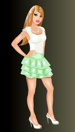 falda corta: Ilustración de una chica fiestera vestido.