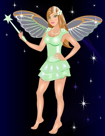 glitter makeup: Illustration for Halloween of a dressed up Fairy Costume. Illustration