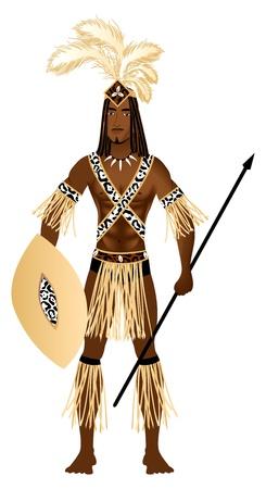ズールー族のカーニバルのハロウィーンの衣装に身を包んだ男のイラスト。