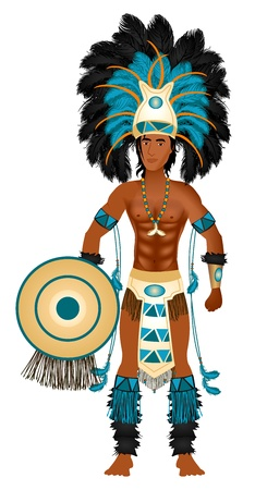 warrior pose: Vector Illustration of an Aztec man in Costume for Carnival Halloween or Thanksgiving.