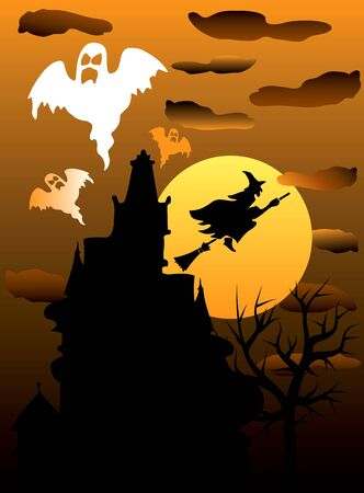 Illustration of a Halloween Haunted Ghost House. Vector