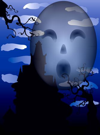 Illustration of a Halloween Haunted Mansion with scary eyes. Stock Vector - 10894750