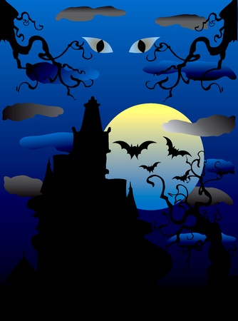 Illustration of a Halloween Haunted Mansion with scary eyes. Vector
