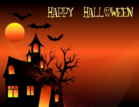 Abstract of a Halloween Tree Background with tree and bats. Vector