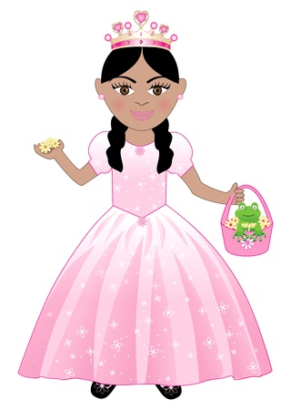 ponytails: cute girl in a Pink Princess Costume. Illustration