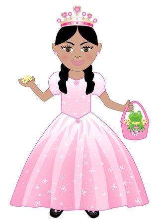 spring out: linda chica en un traje de Princesa Rosa. Vectores