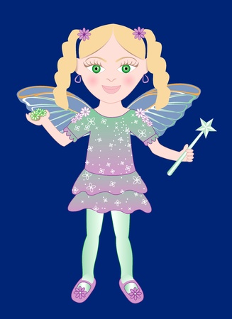 cute little Fairy girl with wand and Flowers. Vector