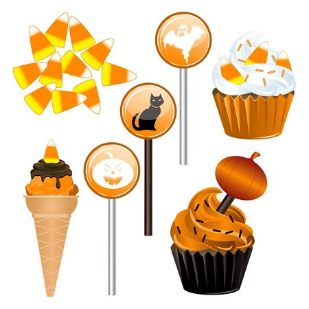 Vector Illustration of seven different Halloween Candy and Cupcakes. Ilustração