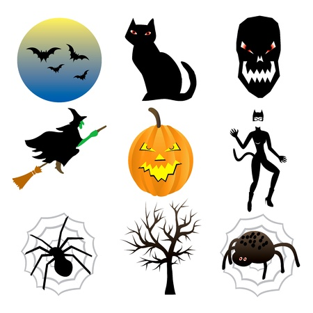 spider web: Vector Illustration of nine different Halloween icons.