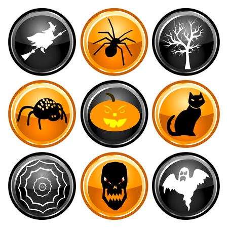 Vector Illustration of nine black, orange and white round Halloween button icons. Vector
