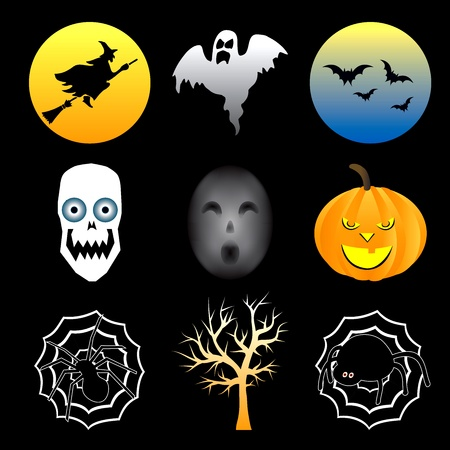Vector Illustration of nine different Halloween icons.