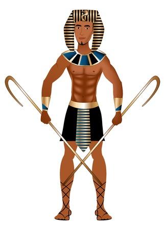 エジプトのカーニバルのハロウィーンの衣装に身を包んだ男のベクトル イラスト。