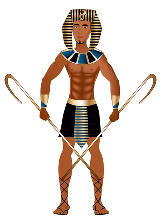warrior pose: Vector Illustration of a man dressed in Egyptian Carnival Halloween Costume.