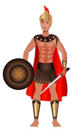 Vector Illustration of a Greek Warrior in Costume. Vector