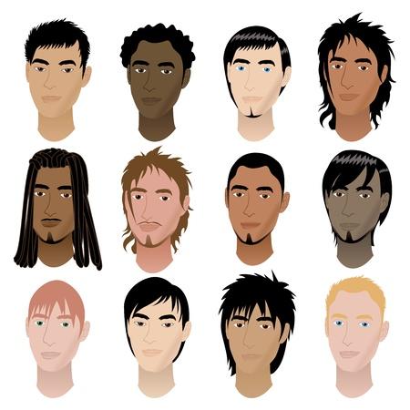Vector Illustratie van 12 mannen is gericht. Mannen Gezichten # 6.