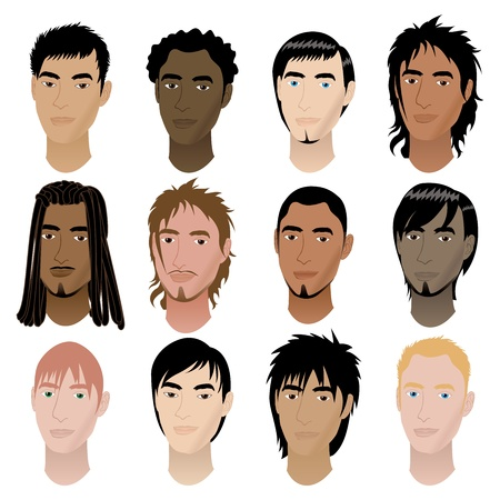 spiky hair: Vector Illustration of 12 men faces. Men Faces #6.