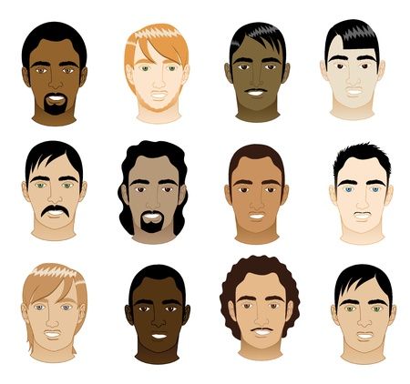 punk hair: Vector Illustration of 12 different mens faces.