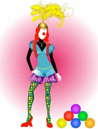 Vector Illustration of a female circus entertainer or clown. Vector