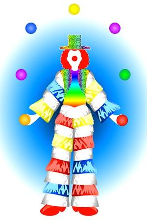 Vector Illustration of a Clown Man Costume Juggling. Stock Vector - 11044219