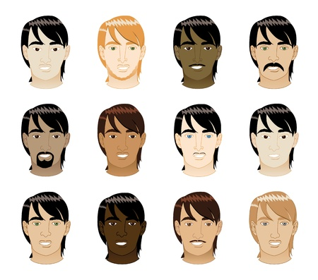 Vector Illustration of 12 different long Straight Hair Men Faces.  Vector