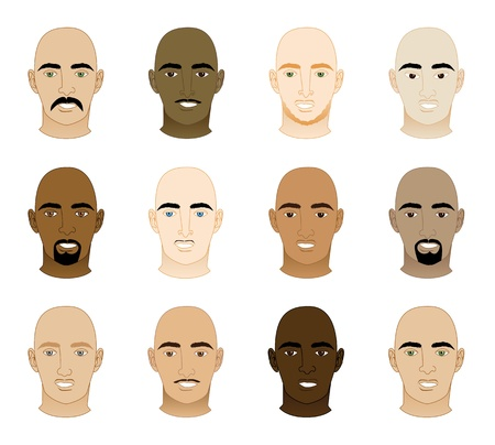 Vector Illustration of 12 different Bald Men Faces.  Vector