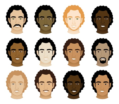 Vector Illustration of 12 different Curly Afro Men Faces.  Vector