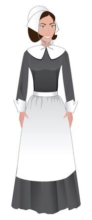 Vector Illustratie voor Thanksgiving van een pelgrim Vrouw. Stock Illustratie