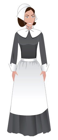 Vector Illustration for Thanksgiving of a Pilgrim Woman.