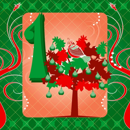 Carte illustrations vectorielles pour les 12 jours de Noël. Une perdrix dans un poirier Tee.
