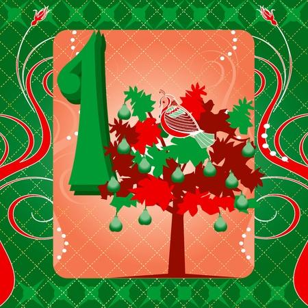 perdrix: Carte illustrations vectorielles pour les 12 jours de No�l. Une perdrix dans un poirier Tee. Illustration