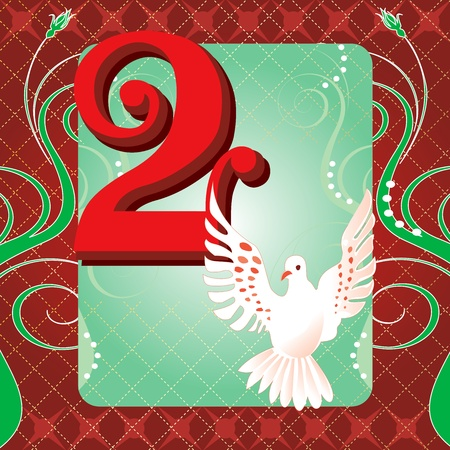 number of animals: Vector Illustration Card for the 12 days of Christmas. Two Turtle Doves.