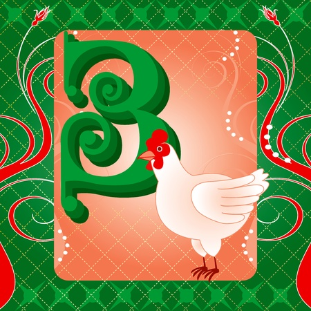 Vector Illustration Card for the 12 days of Christmas. Three French Hens.