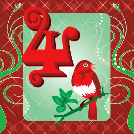 Vector Illustration Card for the 12 days of Christmas. Four Calling Birds. 矢量图像
