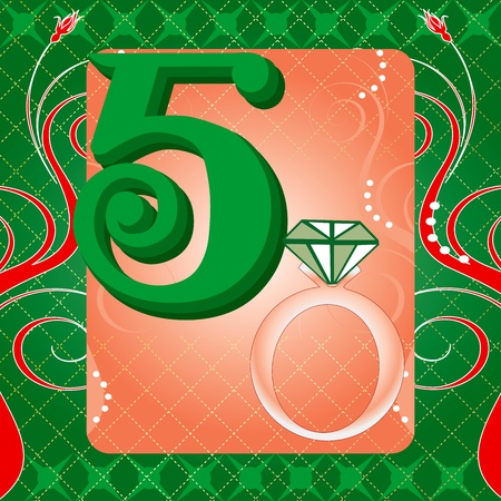 Vector Illustration Card for the 12 days of Christmas. Five Golden Rings.