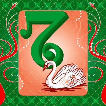 Vector Illustration Card for the 12 days of Christmas. Seven Swans Swimming.