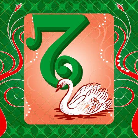 cisnes: Tarjeta con ilustración vectorial de los 12 días de la Navidad. Siete cisnes nadando.