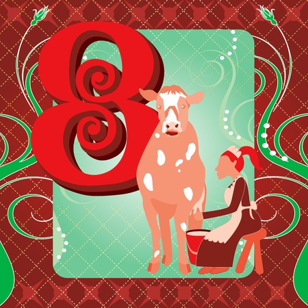 Vector Illustration Card for the 12 days of Christmas. Eight Maids Milking. Иллюстрация
