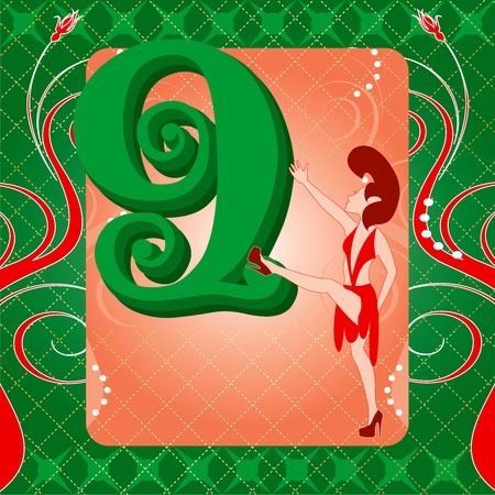 9th: Vector Illustration Card for the 12 days of Christmas. Nine Ladies Dancing.