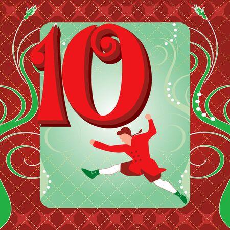 クリスマスの 12 日間のベクトル イラスト カード。十王跳躍。