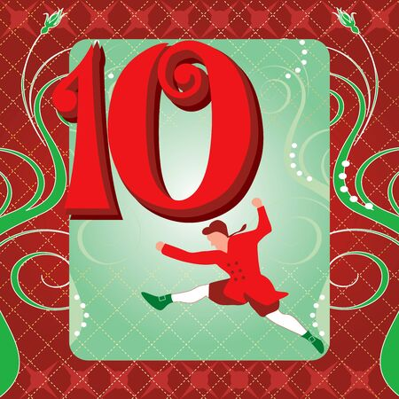 10th: Vector Illustration Card for the 12 days of Christmas. Ten Lords Leaping.