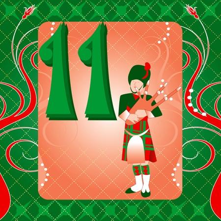 クリスマスの 12 日間のベクトル イラスト カード。11 パイパーズ配管。  イラスト・ベクター素材
