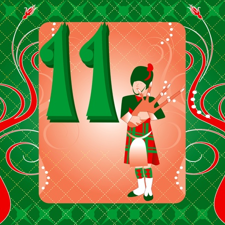 twelve: Vector Illustration Card for the 12 days of Christmas. Eleven Pipers Piping. Illustration