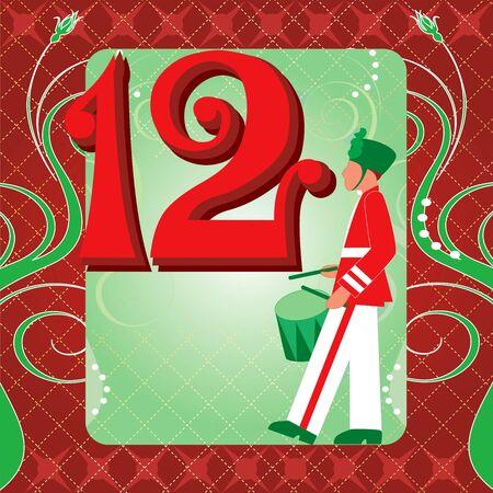 クリスマスの 12 日間のベクトル イラスト カード。12 人の太鼓叩き。