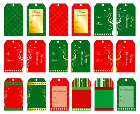 Vector Illustration of 18 Christmas tags or cards. Vector