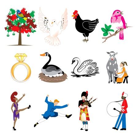 kuropatwa: Karta ilustracji wektorowych z 12 dni świątecznych ikon w pełnym kolorze. Ilustracja