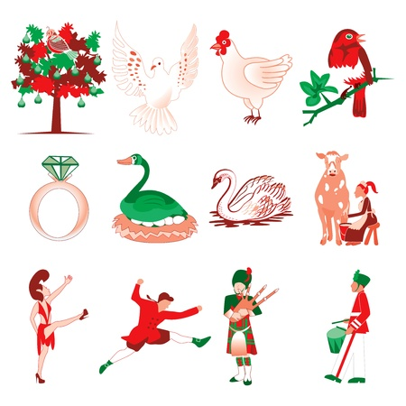 Vector Illustration Card of the 12 days of Christmas icons. Vector