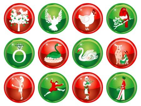 ベクトル イラスト カード クリスマス ボタンの 12 日間。  イラスト・ベクター素材